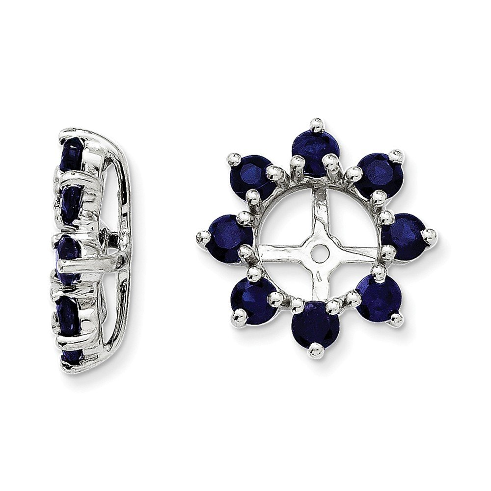 925 Sterling Silver Rhodium Created Sapphire Earring Jacket