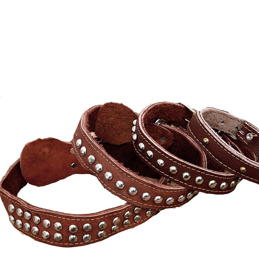 3.5x75cm Vintage Dog Collar First Layer Leather Durable Metal Buckle Heavy Duty Belt (3.5x75cm)