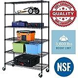 Black Commercial 6 Tier Shelf Adjustable Steel Wire Metal Shelving Rack