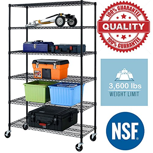 Black Commercial 6 Tier Shelf Adjustable Steel Wire Metal Shelving (Black Wire Rack)