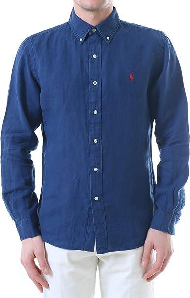 Polo Ralph Lauren Mod. 710794142 Camisa Lino Slim Fit Hombre Azul L: Amazon.es: Ropa y accesorios