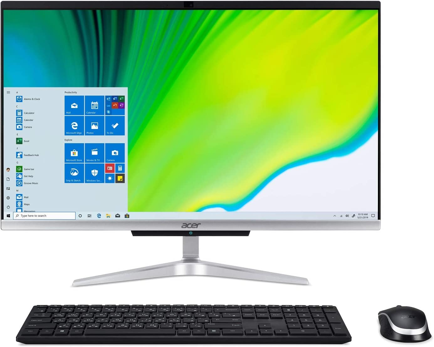 "Acer Aspire C24-963-UA91 AIO Desktop, 23.8"" Full HD Display, 10th Gen Intel Core i3-1005G1, 8GB DDR4, 512GB NVMe M.2 SSD, 802.11ac WiFi 5, Wireless Keyboard and Mouse, Windows 10 Home"