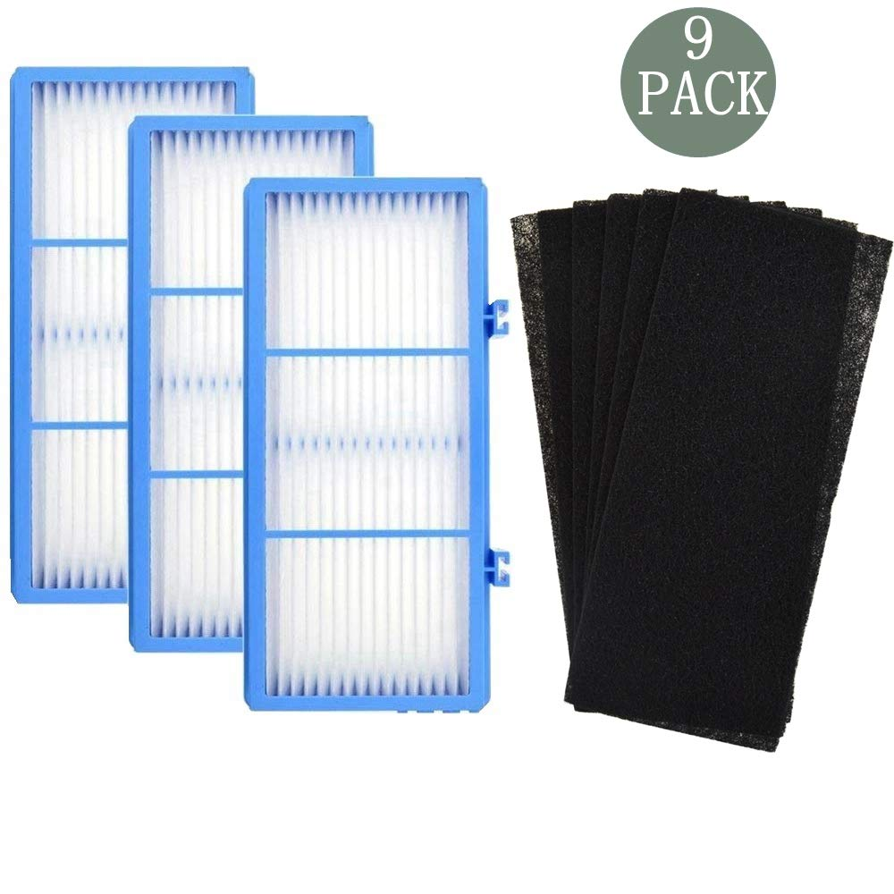 DerBlue 3 HEPA Air Filter + 6 Carbon Booster Filters for Holmes AER1 HEPA Type Total Air Filter Replacement Filters for HAPF30AT and HAP242-NUC