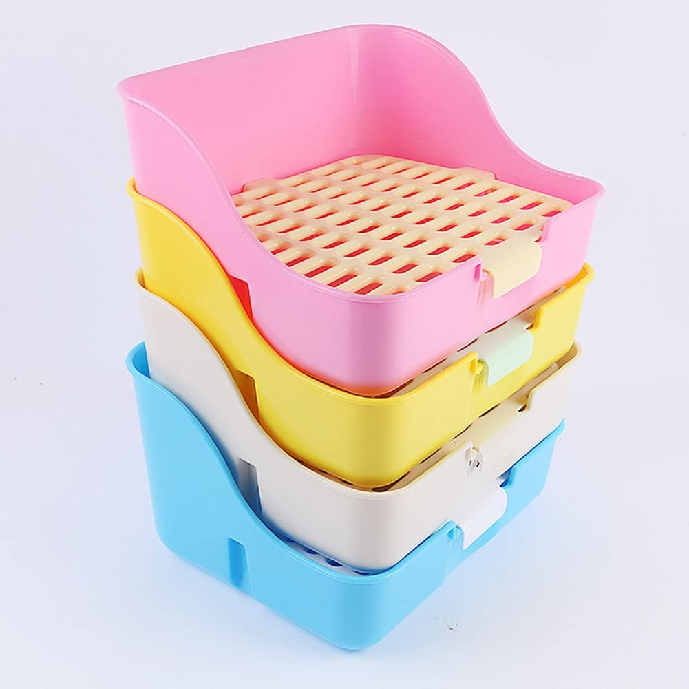 RUBYHOME Rabbit Cage Litter Box Easy to Clean Potty Trainer for Cat Adult Guinea Pig Ferret Small Animals Yellow