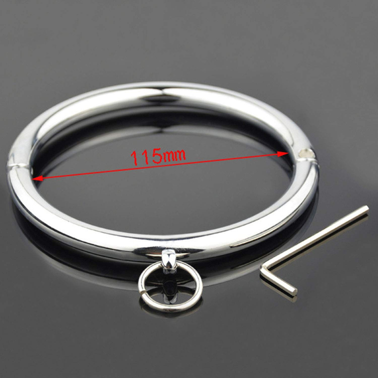 BDSM SM 115mm Metal Stainless Steel Dog Neck Collar SLE Bondage Key Cuff Adult Women Sexxxvy Toys Couples LF-102,Inner Diameter 115mm,BDSM T-Shirt