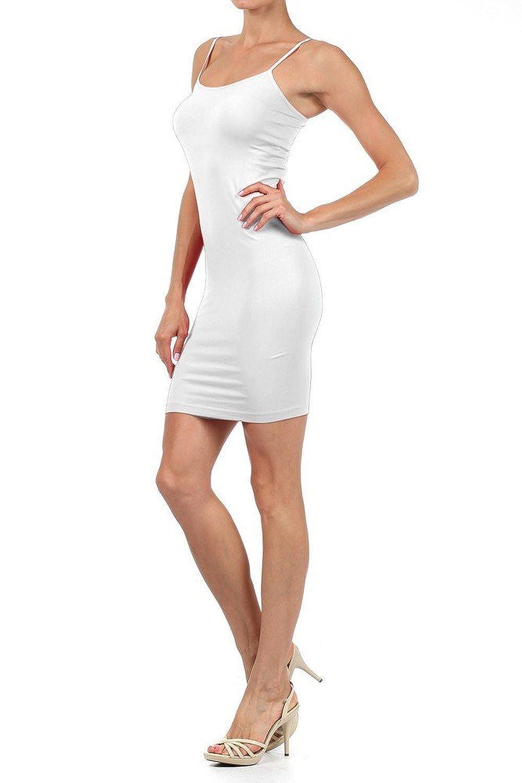 Yelete Nylon Seamless Long Cami Slip Dress (One Size)