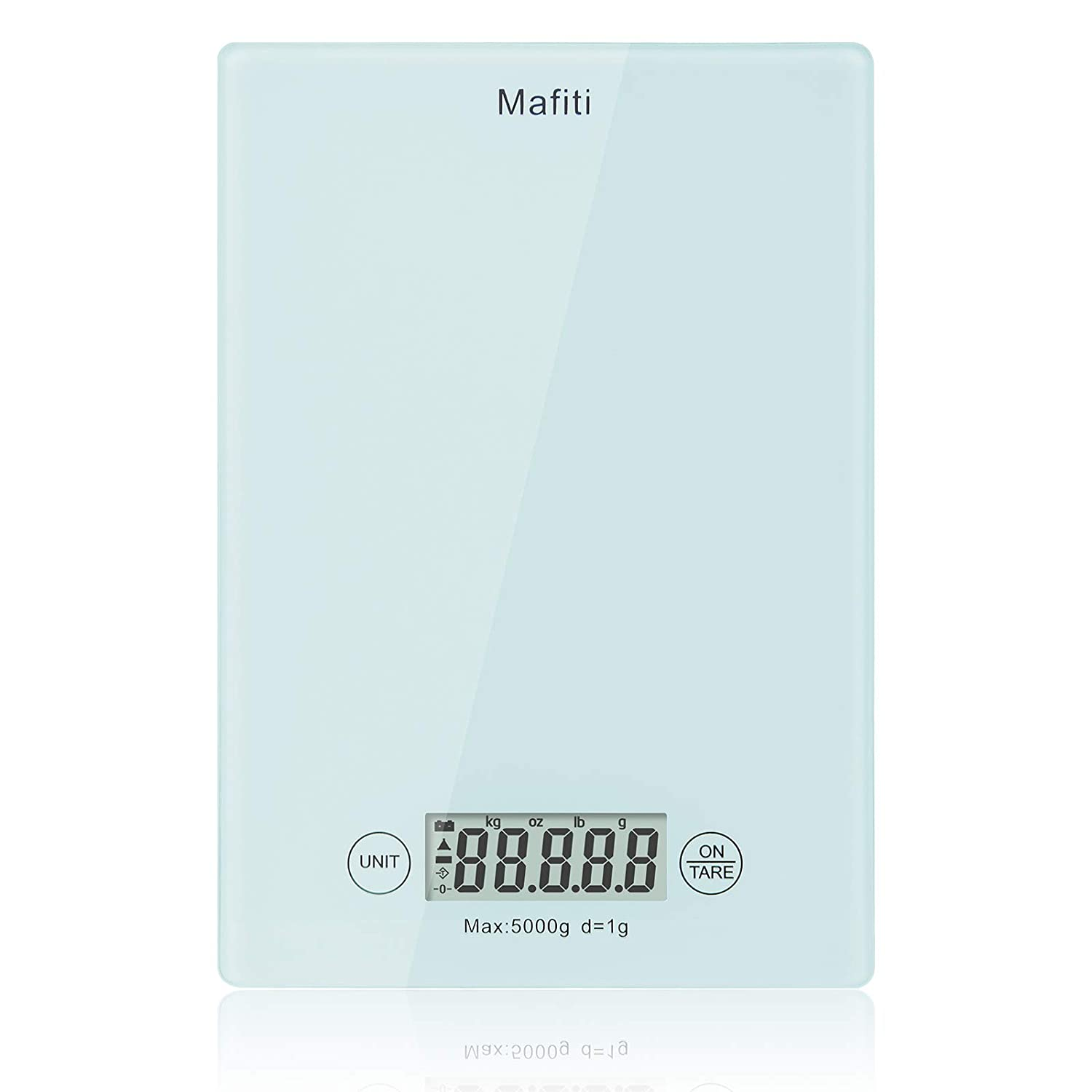 Kitchen Scale, Mafiti Digital Kitchen Scales 11lb/5kgX1g, Multifunction Measures in Kg, g, lb and OZ Digital Kitchen Weight for Food, Cooking and Baking,LCD Display (Battery No Include)