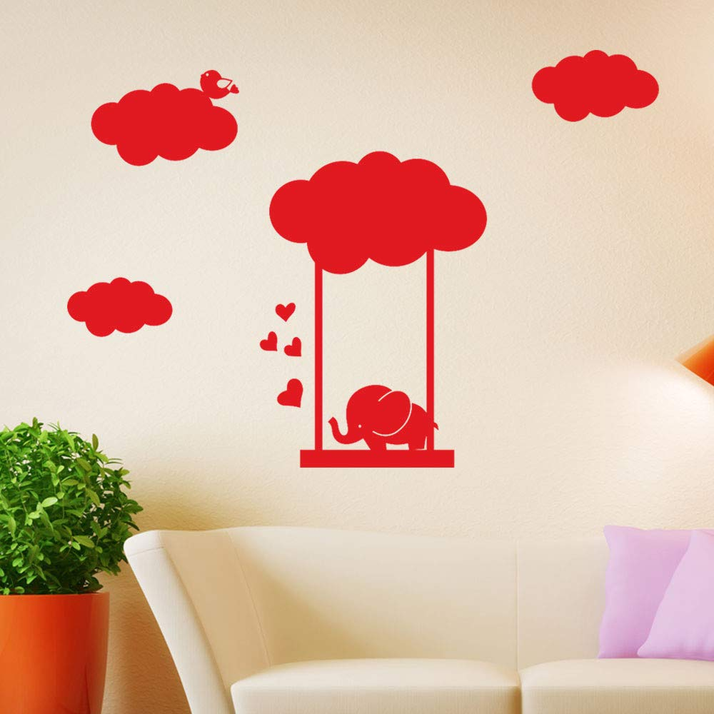 Cute Wall Stickers, Hoshell DIY Elephant Swinging Removable Art Vinyl Mural Home Room Decor Children Wall Stickers for Kid's Room (Black)
