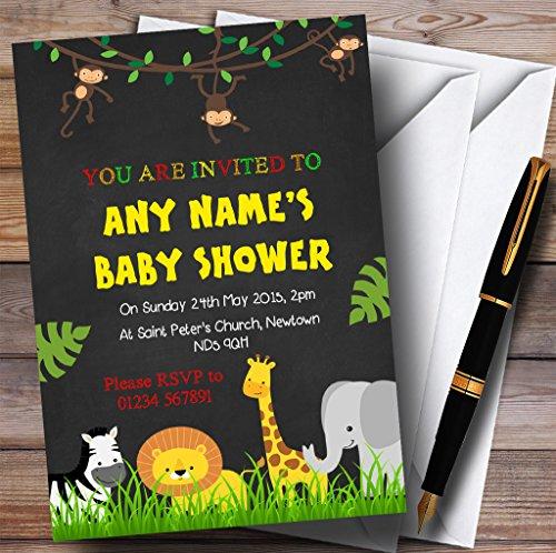 Any Age Chalk Jungle Animals Invitations Baby Shower Invitations