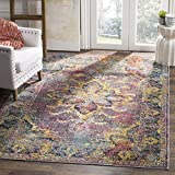 Safavieh Crystal Collection CRS508H Navy and Light Blue Distressed Bohemian Medallion Area Rug (8′ x 10′)
