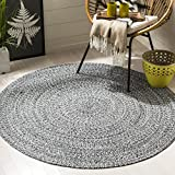 Safavieh BRD256C-3R Braided Collection Ivory and Black Round Area Rug, 3' Diameter,