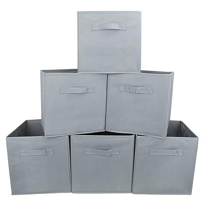 EZOWare Caja de Almacenaje con 6 pcs, Caja de Tela para Almacenaje, Gris