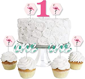 1st Birthday Flamingo - Dessert Cupcake Toppers - Tropical First Birthday Party Clear Treat Picks - Set of 24