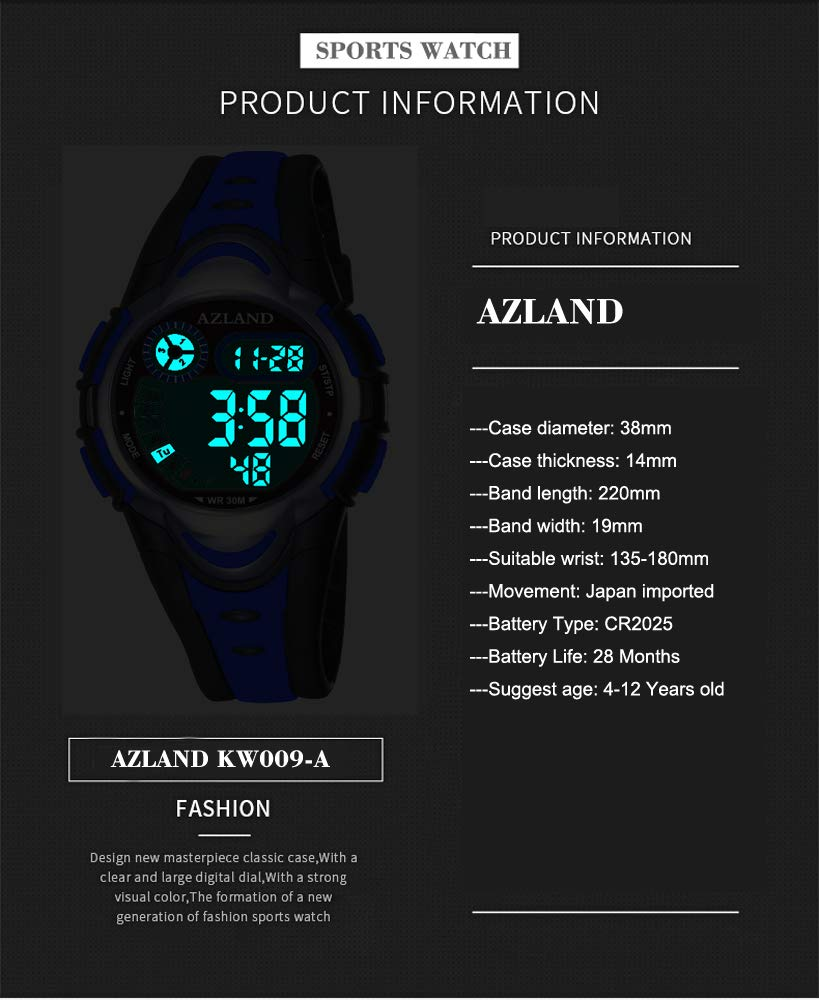AZLAND Multiple Alarms Waterproof Kids Watches Boys Girls Digital Sports Teenagers Wristwatch (3 Alarms, for Age 4-12, Blue) by AZLAND (Image #3)