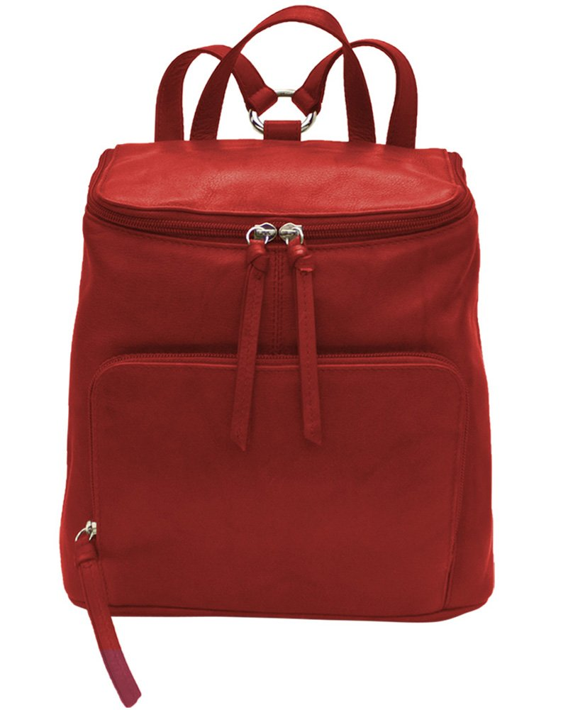 ili Leather 6502 Backpack Handbag with RFID Lining (Red) by ILI