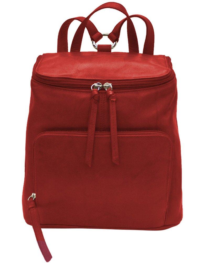 ili Leather 6502 Backpack Handbag with RFID Lining (Red)