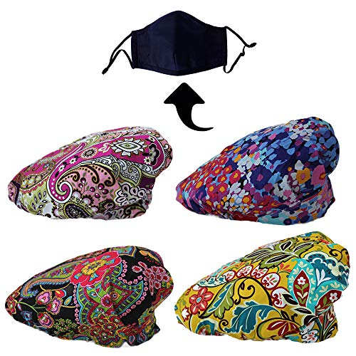JoyRing 4 Pack Adjustable Surgical Scrub Cap Medical Doctor Bouffant Hats with Sweatband and Free Cotton Mask (Set K)