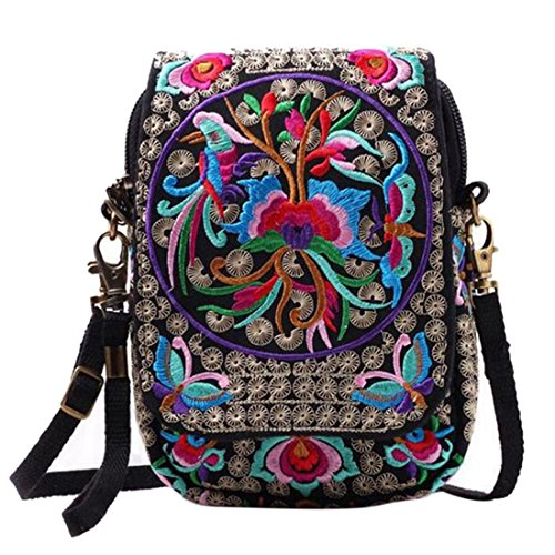 Jiyaru Women Embroidered Purse Cellphone Wallet Crossbody Bag Mini Shoulder Bag Multicolor