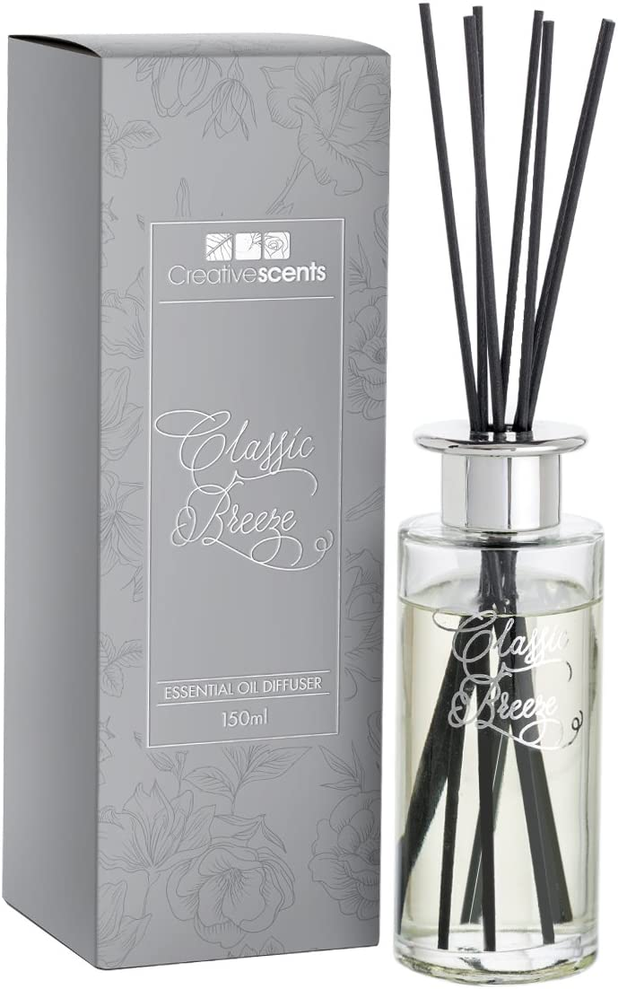 Creative Scents Classic Breeze Reed Diffuser - Diffuser Sticks - Oil Diffuser & Reed Diffuser Sticks in Gift Box, Grade Oils Blend, Natural Scent Diffuser, Fragrance and Gifts, 150 ML/5 Oz.