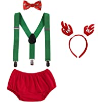 OBEEII Cake Smash Outfits Baby Boy 1st Birthday Party Suspenders Diaper Nappy Cover Bow Tie