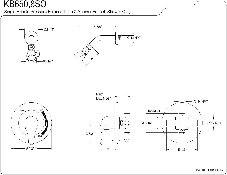 Matte Black Kingston Brass KB650SO Chatham Shower Faucet