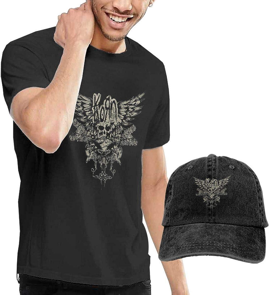 David E Everett Korn Mens Personality Cotton Casual T-Shirt /& Denim Cap Baseball Hat