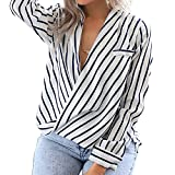 Eliacher Women's Casual Long Sleeve Shirts Striped Chiffon Blouse (M)