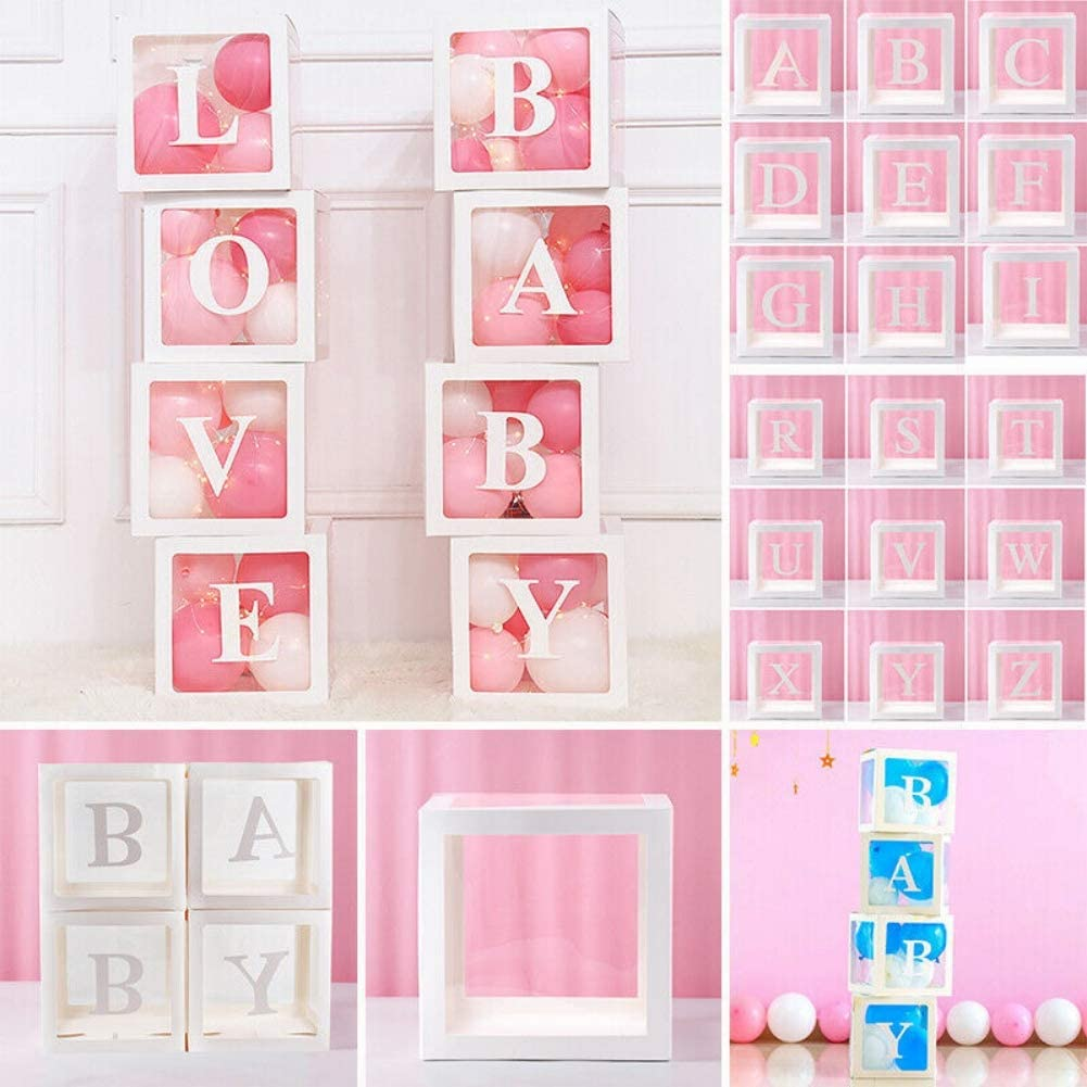 White Cube Boxes Kit with Letter for Girls Boys Birthday Party Decor Gifts Babyshower Favors Supplies Birthday Party Propose//Marriage//Wedding Decor Baby Shower Decorations Transparent Box