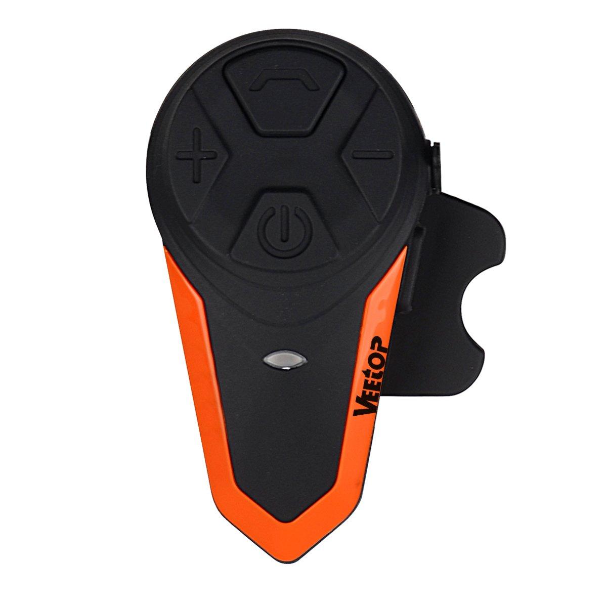 Motorcycle Intercom Bluetooth Helmet Headset, Veetop 1000M Waterproof Motorbike Interphone Helmet Communication System Kits with Walkie Talkie MP3/GPS & FM Radio for Riding&Skiing, 2-3 Riders(1 Pack)
