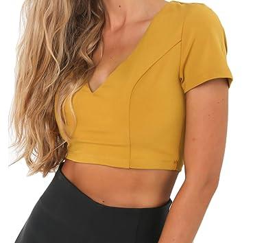 031daf1bba508 Generic Womens V Neck Crop Tops Sexy Short Sleeve T-shirt Yellow M ...