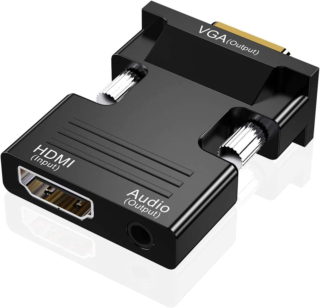 HDMI to VGA Adapter, Audio Output Cable Computer Set-top Box Converter Connector Adapter for Laptop, PC, Monitor, Projector, HDTV, Chromebook, Roku, Xbox(3.5mm Stereo Cable Included)