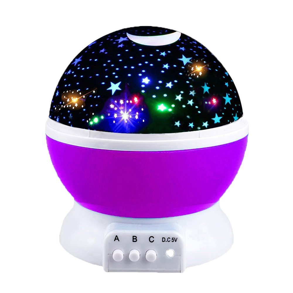 OuWen 2-10 Year Old Girls Gifts, Star Rotating Night Light Kids Gifts Boys 3-12 year old Toys Girls Age 3-12 Toys Boys Age 3-12 purple OWUSNL02