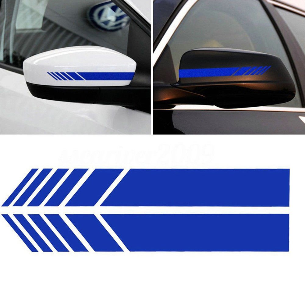 CALISTOUK 2pcs Car Rear View Mirror Stickers Decor DIY Car Body Sticker Side Decal Stripe Decals SUV Vinyl Graphic Red
