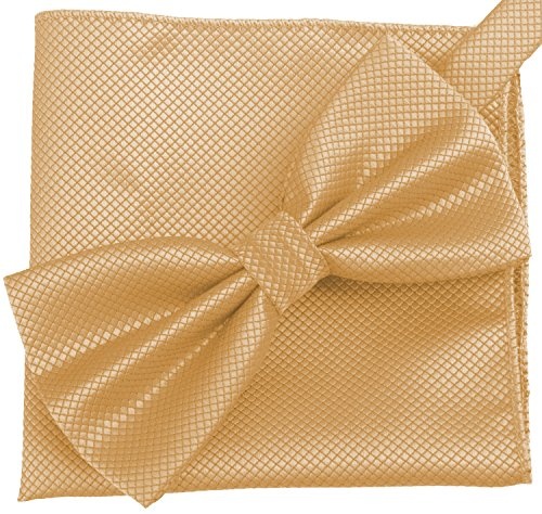 Flairs New York Gentleman's Essentials Bow Tie and Pocket Square Matching Set (Champagne Gold [Diamond Shape Print])