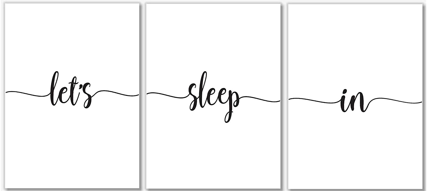 Let's Sleep In Art Prints - Bedroom Wall Decor - Set of 3 – 11x14 – Unframed