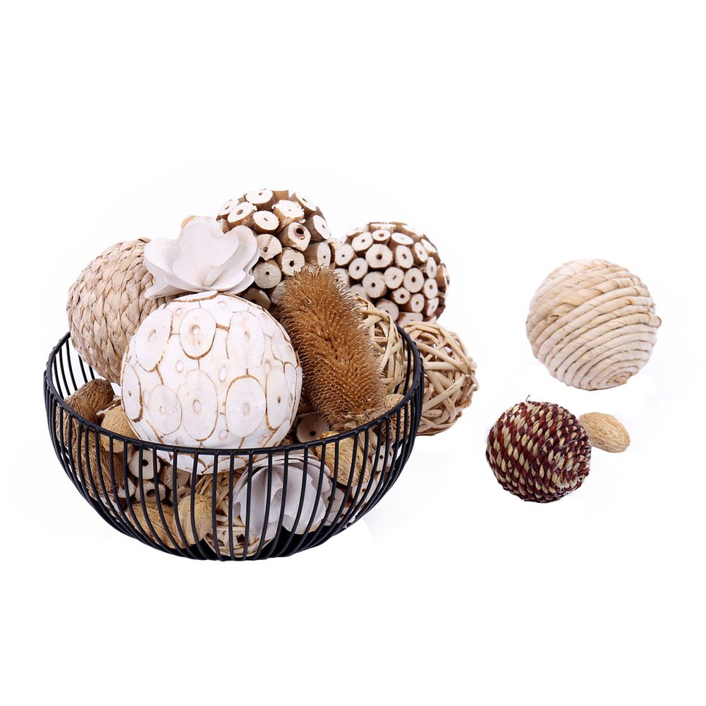 Bag of Assorted Decorative Spherical Natural Woven Twig Rattan and Cotton Bowl and Vase Filler, Balls Spheres Orbs Filler - Brown and White (Brown1) WMAOT