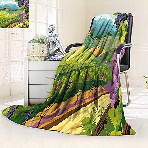 50%OFF AmaPark Lightweight Blanket Rural withs Town Valley Art Green Blue Digital Printing Blanket