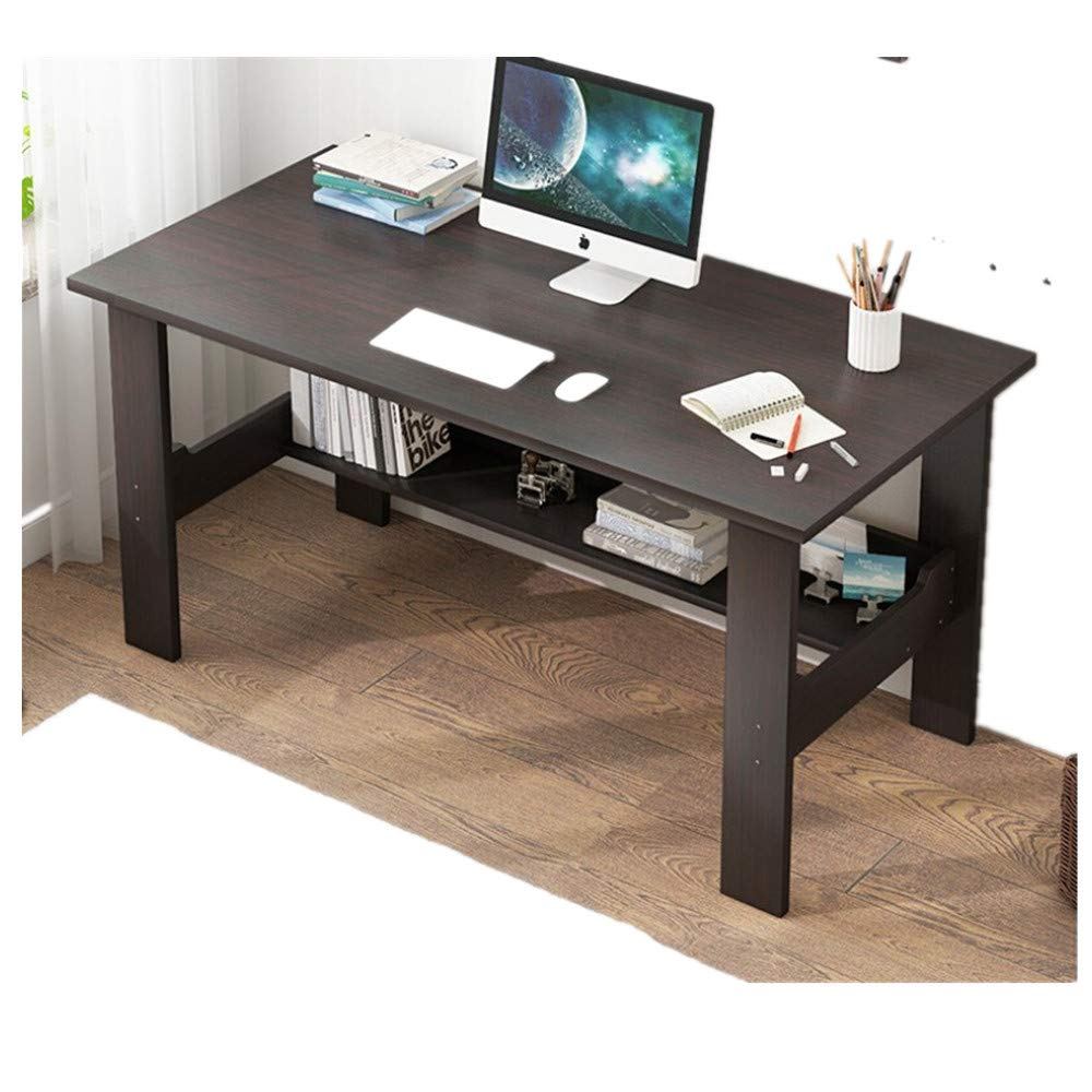 YUBINK Home Desktop Computer Desk Bedroom Laptop Study Table Office Desk Workstation (US Stock) (Black) by YUBINK