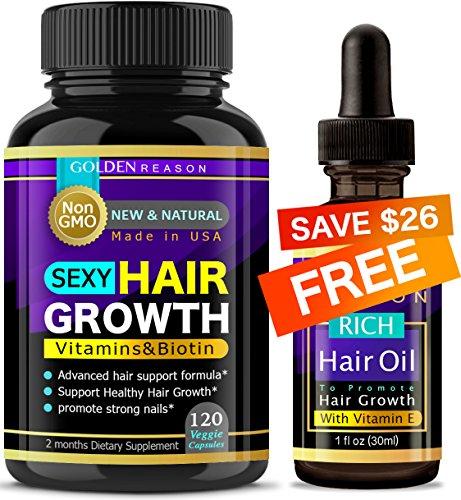Fast Hair Growth Formula. Advanced Anti Hair Loss. New & Powerful Formula to Promote Longer, Stronger Hair. Non GMO.120 Capsules. Plus a Free Rich Hair Growth Serum. Made in USA (Fast Hair Vitamins Growth)