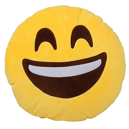 icablelink Emoji Emoticono Cojín Almohada Redonda Emoticon Peluche Bordado Sonriente,Sonriendo