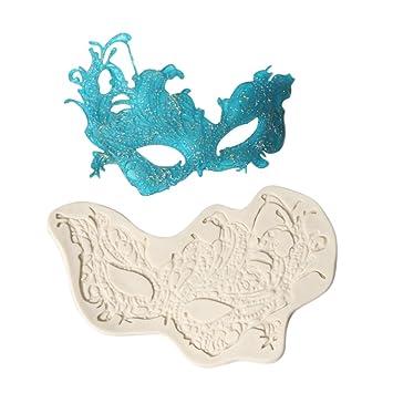 Decdeal - Molde de silicona para decoración de tartas, diseño de máscara de fiesta, decoración de fondant, para repostería, moldes de repostería, ...