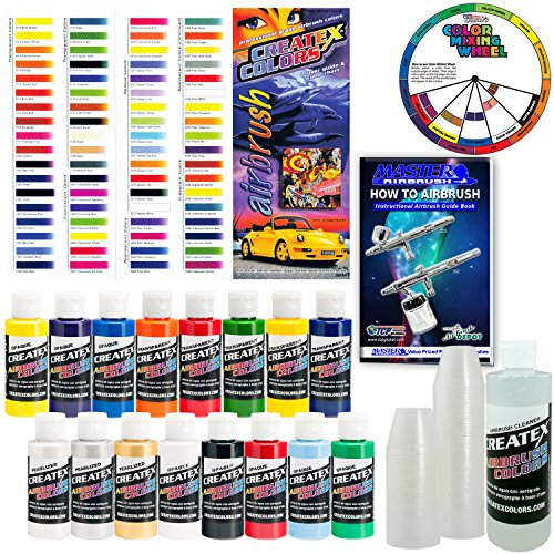 Createx KIT-SUPER16 Airbrush Super Starter Kit With Pack of 100 - 1 Ounce Paint Mixing Cups, Airbrush Book, Createx Color Chart of all 80 Colors and Pocket Mixing Color Pocket Wheel