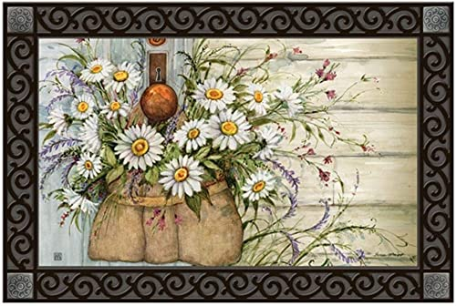 Studio M MatMates Fresh Picked Daisies Spring Summer Floral Decorative Floor Mat Indoor or Outdoor Doormat with Eco-Friendly Recycled Rubber Backing, 18 x 30 Inches