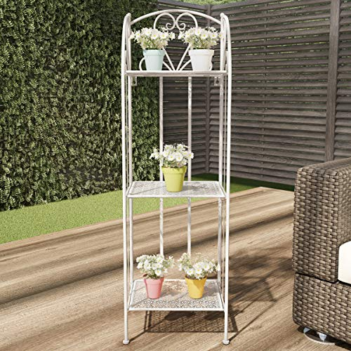 (Pure Garden 50-LG1163 Plant Stand – 3-Tier Vertical Shelf Indoor or Outdoor Folding Wrought Iron Home Garden Display with Laser Cut Shelves (Antique White))