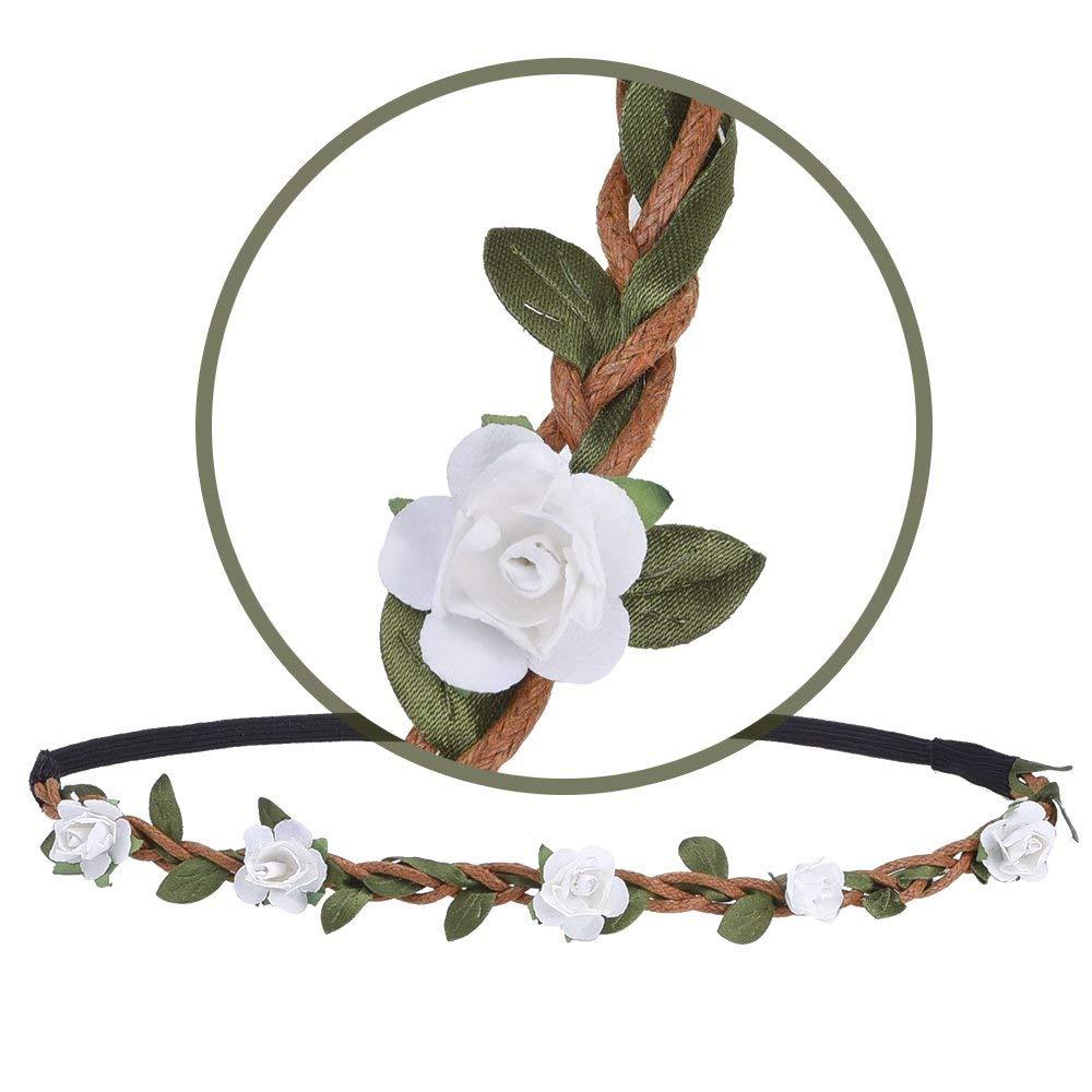 Blumen Stirnb/änder,12er Pack Stirnband Kopfband mit Justierbaren Elastischen Band Farbig Haarband Damen M/ädchen f/ür Party Hochzeit Strand