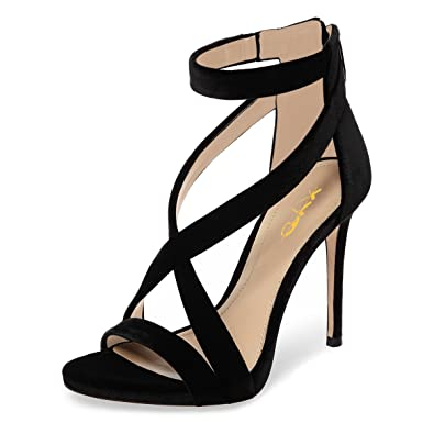 de761e204fb652 XYD Womens Criss Cross Ankle Strap Sandals Open Toe Stilettos High Heels  Back Zipper Bridal Wedding