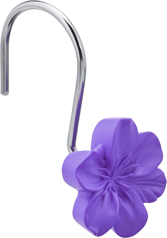 AmazonBasics Shower Curtain Hooks - Flower, Purple