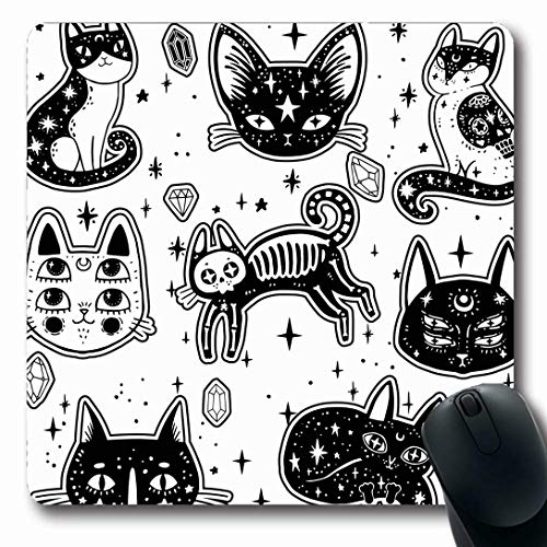Ahawoso Mousepads for Computers Moon Patch Witchs Cat Wildlife Witchcraft Cute Gothic Girl Magic Space Esoteric Design Tattoo Oblong Shape 7.9 x 9.5 Inches Non-Slip Oblong Gaming Mouse Pad (Best Tattoo Designs For Girl)