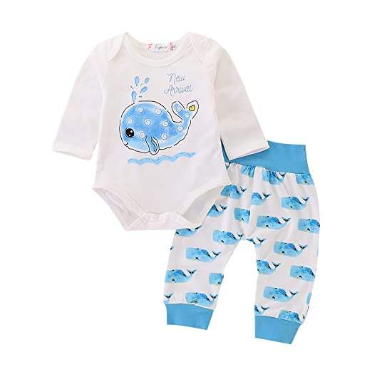 fd5fd4982779 Mikrdoo Baby Whale Clothes Set Long Sleeve White Romper Tops + Whale  Pattern Pants Leggings Outfits