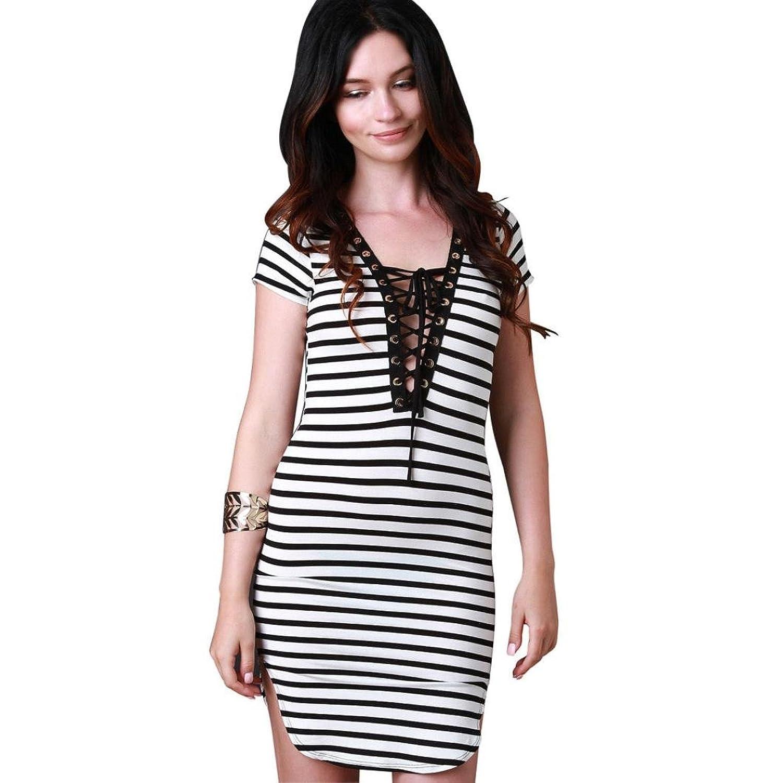 Ecurson Sexy Women Dress Plunge V Neckline Straps Sleeve Bandage Dress Club Dress